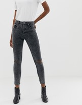 Asos DESIGN super high waisted firm skinny jeans in acid wash grey cord with busted knees