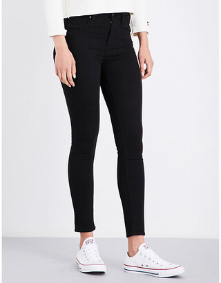 Levi's 721 Ladies Black Leather Super-Skinny High-Rise Jeans, Size: 25