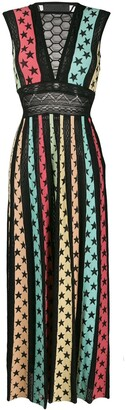 Philipp Plein Star print panelled maxi dress