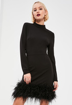 Missguided Black High Neck Feather Trim Dress