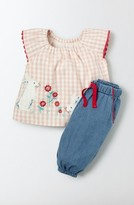 Toddler Girl's Mini Boden Pretty Applique Top & Pants Set