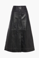 Thumbnail for your product : Ganni Flared Leather Midi Skirt