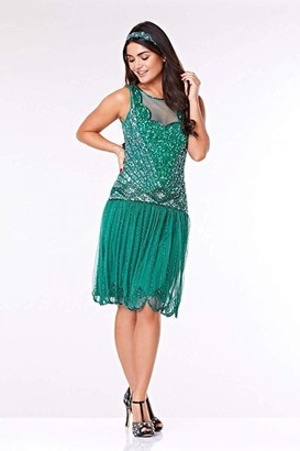 Linzi Gatsbylady London Elaina Drop Waist Flapper Dress in Teal