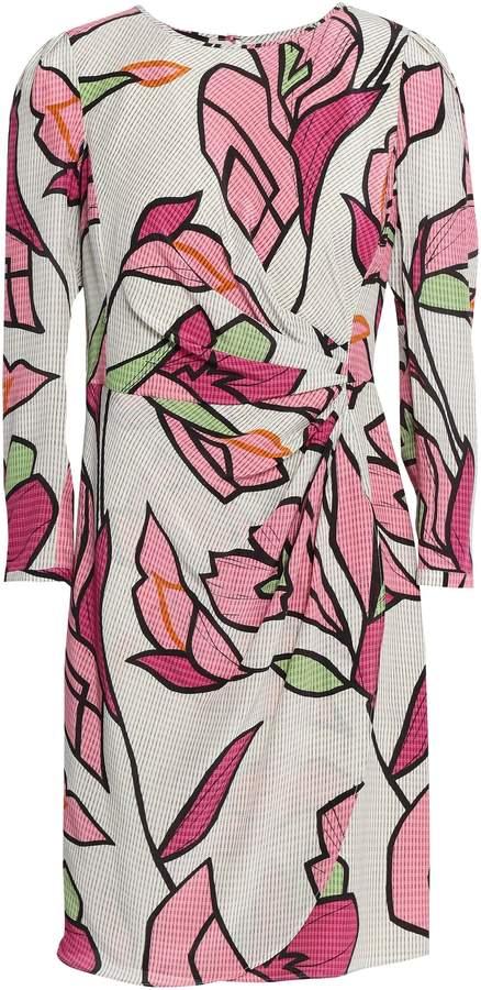 Emporio Armani Wrap-effect Printed Silk Crepe De Chine Mini Dress