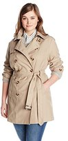 Jones New York Women's Plus-Size Double-Breasted Trench Coat