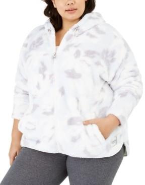 Calvin Klein Plus Size Printed Fuzzy Zip-Front Jacket