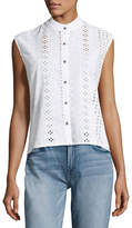 XCVI Michi Embroidered Eyelet Button Top