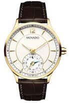 Movado Embossed Leather Strap Quartz Watch
