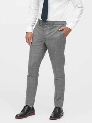 Banana Republic Slim Tapered Italian Wool Plaid Suit Pant