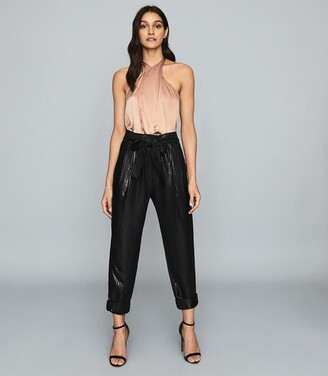 Reiss Pennie - Tapered Shimmer Trousers in Black