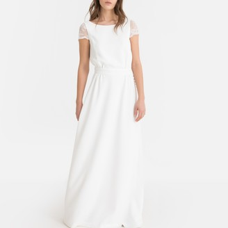 La Redoute Collections Maxi Wedding Dress with Lacy Open Back