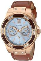 GUESS Women's U0775L7 Sporty Rose Gold-Tone Stainless Steel Watch with Multi-function Dial and Brown Strap Buckle
