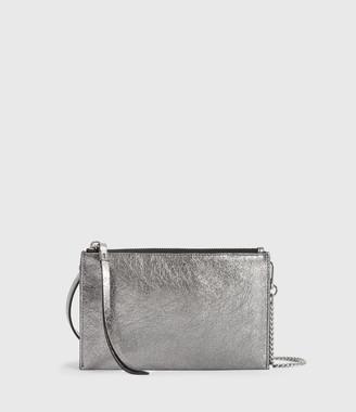 AllSaints Miki Lea Chain Leather Wallet Crossbody Bag