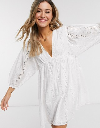 Qed London broderie anglais babydoll smock dress in white