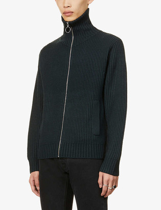 The Kooples Turtleneck zip-up wool-blend cardigan