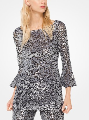 Michael Kors Sequined Stretch-Tulle Bell-Cuff Tunic