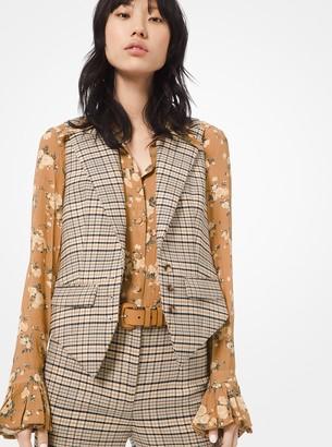 Michael Kors Plaid Stretch-Wool Vest