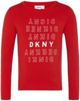 DKNY Girls Rubber Ink Logo T-Shirt