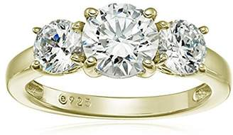 Swarovski La Lumiere Yellow gold-Plated Sterling Silver Zirconia 2 cttw Round 3 Stone Ring, Size P1/2