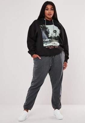 Missguided Plus Size Gray Washed Jersey Joggers