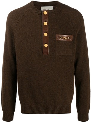 Gucci Leather-Trim Knitted Jumper