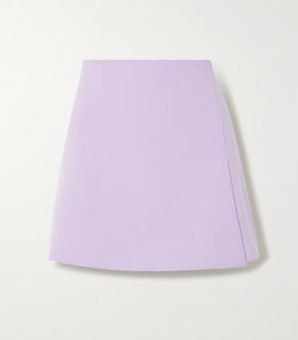 Alice + Olivia Sherilyn Wrap-effect Grain De Poudre Mini Skirt - Lilac