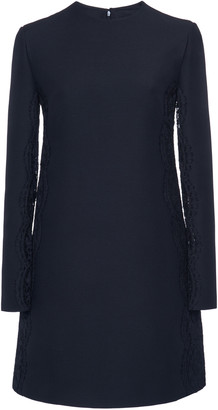 Valentino Lace-Trimmed Wool Silk Mini Dress