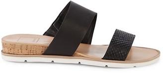 Dolce Vita Vala Snakeskin-Embossed Leather Wedge Slides