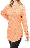 Allegra K Women Diagonal Stripes Long Drop Sleeves Top M