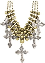 Gypsy SOULE Multi Chain Flatbead w/ Hammered Cross Charms Necklace (Silver) - Jewelry