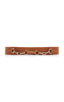 Maison Vaincourt Chain-Detailed Wide Pebbled Leather Belt