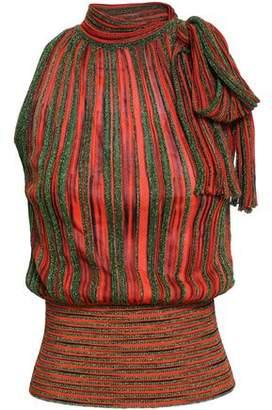 Missoni Bow-detailed Metallic Stretch-knit Tank
