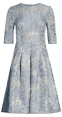 Teri Jon by Rickie Freeman Metallic Jacquard A-Line Dress