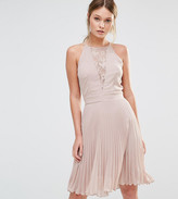 Elise Ryan Pleated Mini Dress With Lace Insert