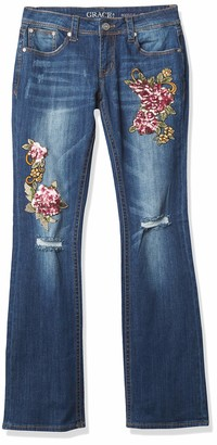 Grace in LA Women's Boho Embroidered Bootcut Jeans