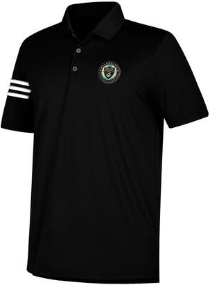adidas Men's Black/White Philadelphia Union Three Stripe climacool Polo