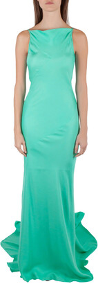Gareth Pugh Aqua Green Silk Sleeveless Column Gown S