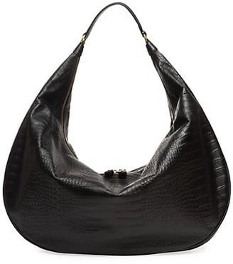 STAUD Large Sasha Croc-Embossed Leather Shoulder Bag