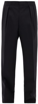 The Row Mark Pleated Tropical-wool Suit Trousers - Dark Navy