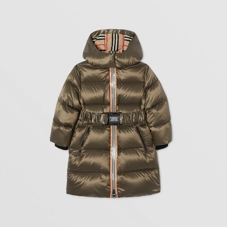 Burberry Childrens Icon Stripe Trim Hooded Puffer Coat