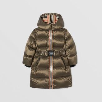 Burberry Icon Stripe Trim Hooded Puffer Coat