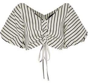 Paper London Saskia Cropped Ruched Striped Canvas Top