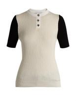 Courrà ̈ges Bi-colour cotton and cashmere-blend top
