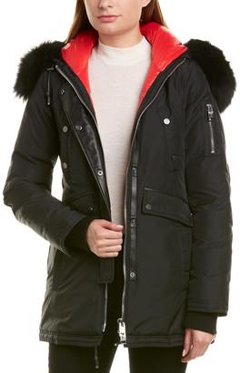 Nicole Benisti Series By Aurora Leather-Trim Wool-Blend Down Coat