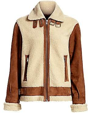LAMARQUE Women's Faux Shearling Aviator Jacket