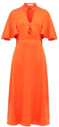 Francoise - Cut-out Cape-back Satin Dress - Orange
