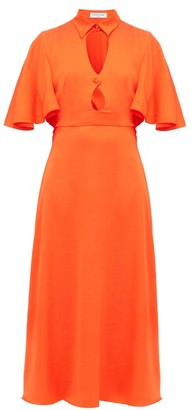 Françoise Francoise - Cut-out Cape-back Satin Dress - Orange