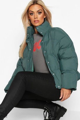 boohoo Plus Funnel Neck Cropped Puffer Jacket