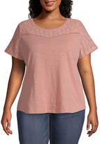 Liz Claiborne Short Sleeve Lace Yoke Tee - Plus