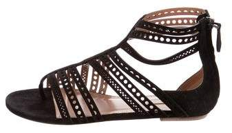 Alaia Suede Perforated Sandals